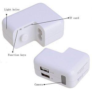 V.T.I. USB AC Plug Phone Charger Hidden Pinhole Socket Spy Camera DVR